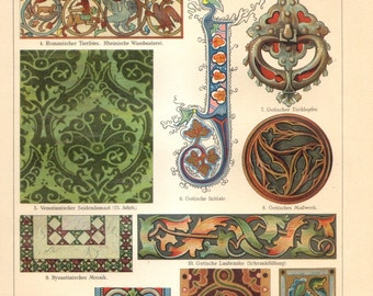 1909 Ornaments of the Middle Ages, Byzantin, Roman, Gothic Original Antique Chromolithograph