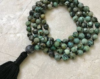 Mala Beads, Knotted Mala Necklace, Beaded Mala, African Turquoise Mala, Tassel Necklace, Boho Necklace, Gemstone Necklace, Yoga, Meditation
