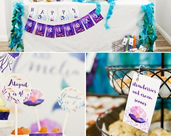 Mermaid | Under the Sea Birthday PRINTABLE Party Collection - You Customize EDITABLE TEXT >> Instant Download | Paper and Cake