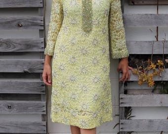 Gorgeous 1960s Yellow Beaded Gown