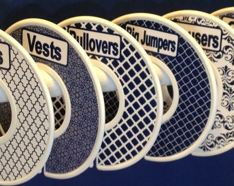 6 Custom Adult Closet Clothing Dividers Organizers Navy and White