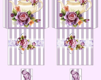 Digital Tea Bag Envelope - Tea Bag Wrapper - Teapot and Roses
