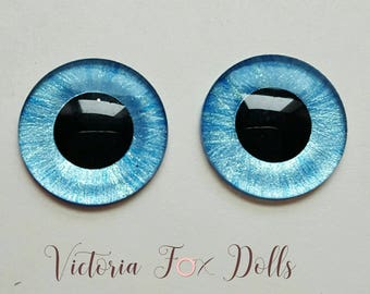 Neo Blythe Doll Custom Eye Chips Bright and Light Blue Pearl Metallic Paints Handpainted Eyechips