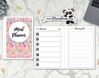 A6 RINGS TN Size | Weekly Meal Planner | Week on 1 Page | Grocery list | Printable Insert for Travelers Notebooks | www.plannerpanda.com