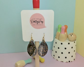 Tinge of Mauve, Large Drop Polymer Clay Earrings from Dotty Pop.