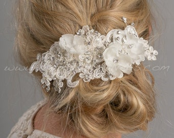 Bridal Lace Hair Comb, Wedding Lace Headpiece, Wedding Hair Accessory - Celine