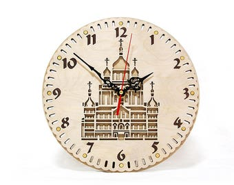 """Wooden wall clock """"Cathedral"""" Designer clock Circle Wall Clock A gift to the believer Wedding gift Christian Easter Day gift Christmas gift"""
