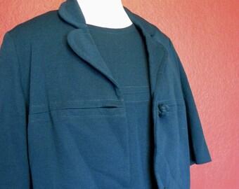 Vintage *Plus Size* L'Aiglon 3-Piece Dress/Jacket/Belt Set Cobalt Blue