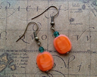 Holiday Pumpkin Dangle Drop Earrings with Czech Crystals Hand Made