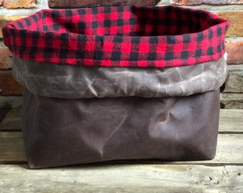 Waxed Canvas Chocolate Brown Red Buffalo Plaid  Flannel Lining Knit  Crochet Drawstring Tote Project Ditty Bag Finger Loop Strap Flat Bottom