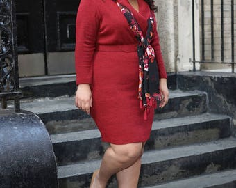 JORDYN Plus Size Sweater Dress Curvy Wrap Dress, Shawl Collar & Matching Belt,  Red Sweater Knit Career wear