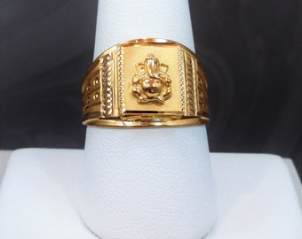 GOLDSHINE 22K Solid Yellow Gold Men's Ring Size 9.25 (US/Canada) Engraved w/ Hindu Lord Ganesha VinayakaGenuine & Hallmarked 916