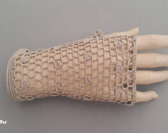 Crochet Mittens, Fingerless Gloves,Dark Beige, 100% Mercerized Cotton.