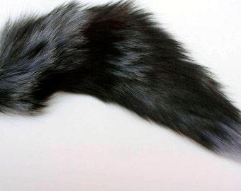 Fox Tail Soft Fluffy Black Grey Tail Plug with Metal Butt Anal Plug Fetish Cosplay Petplay Furry Animal