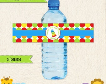 Music Party Waterproof Water Bottle Labels in Bright Colors