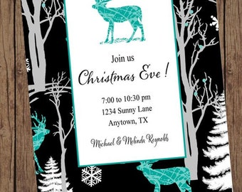 Reindeer Holiday Christmas Invitation - 1.00 each with envelope