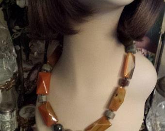 One strand Semi-precious stone necklace pyramid onyx