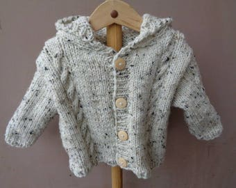 jacket or coat mixed wool and acrylic ecru 12 months