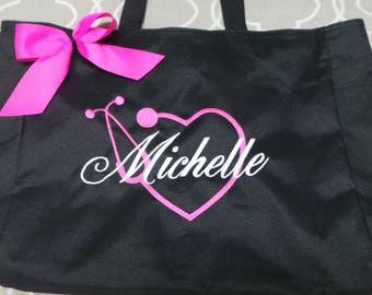 Nurse Bag Personalized Embroidered Large heart shaped Stethoscope with name and bow. Nurse Tote bag, RN, LPN Bag. Lots of colors