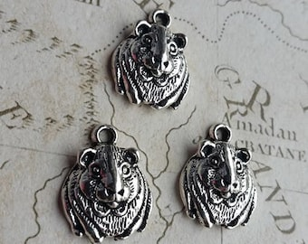 Guinea Pig Charms, Rodent Charms, Cavy Charms, Guinea Pig, Pet Charms, Small Furries, Cavies, Pet Charms, Animal Charms, Silver Guinea,