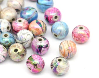 20 / 40 Mixed Hand Painted Pastel Spring Rainbow Round Acrylic Beads - 12mm