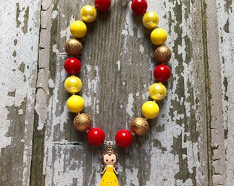 Belle Birthday Necklace - Princess Belle Necklace - Beauty and the Beast Necklace - Belle Chunky Necklace - Little Girl Belle Necklace