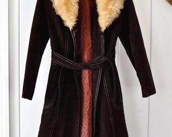 Vintage Penny Lane Coat/ Suede Hippie Coat