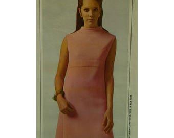"Larry Aldrich 60s Dress Pattern, Empire Waist, Slim, High Neck, Sleeveless, Back Belt, McCalls No. 8733 Size 14 (Bust 34"" 87cm)"
