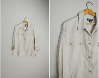 vintage tan linen shirt button down blouse -- womens medium