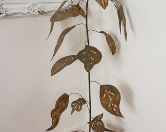 5 Feet Tall Brutalist Vintage Plant Sculpture Large Metal