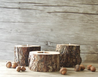 Rustic Candle Holders, Tree Branch Candle Holders, 5th Anniversary gift, Wooden Tealight Holders, Easter Table Decor, Wedding Centerpiece
