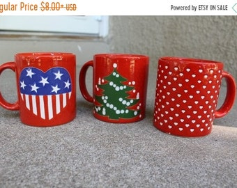 SALE SALE SALE Vintage Ceramic Mugs Christmas Tree Stars Stripes Hearts Red Made in Germany Collectible Set Three Holidays Instant Collectio