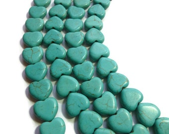 Blue Turquoise Howlite - Heart Bead - 15mm x 15mm x 4.5mm - Full Strand - 31 beads - Sky Aqua - hearts