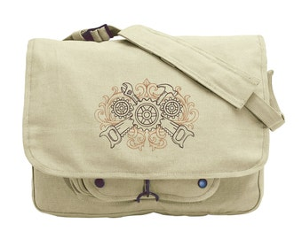 Tools of the Trade Embroidered Canvas Messenger Bag