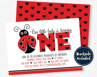Ladybug Birthday Invitation, Ladybug Party Invitations, Girls 1st Birthday Invitation, Red Ladybug