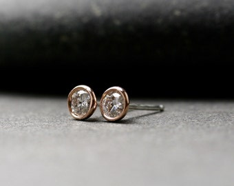 Bezel set 14k rose gold and round brilliant cut Moissanite stud earrings 4mm half carat tw