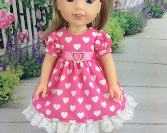 14.5 inch doll Valentine dress, Pink heart dress and tights to fit Wellie Wishers doll clothes. Valentine's Day doll clothes