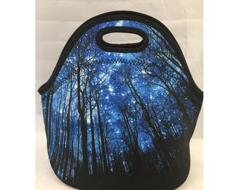 C.C. Neoprene Insulated Lunch Bag | Kids Lunch Bag | Office Lunch Bag | Lunch Box | Vacation Cooler Bag|Teacher Gift Nurse Gift|Forest Stars