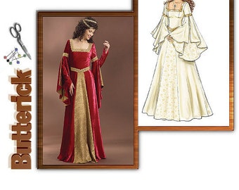 Sewing Pattern Butterick 4571 Renaissance Dress, Costume Dress-Plus Size 14-20