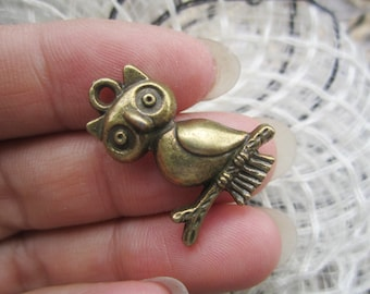 12pc 23.7x17.5mm antiqued bronze owl pendant charms