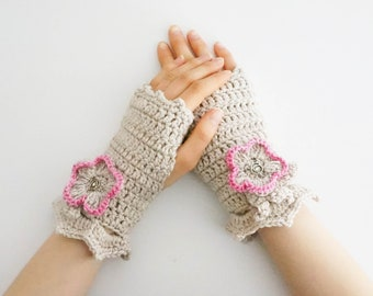 Wild Rose Arm Warmers, hand warmers, Ivory hand painted merino wool, arm warmers, READY to SHIP, floral, gift for mom, gift for her