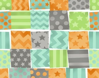 By The HALF YARD - Monkey Business by Bethany Shackelford for Quilting Treasures, #1649-24065-X Striped, Dotted, Chevron, and  Stars Patches