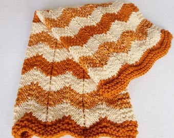 Hand Knit Baby Stroller Blanket, Striped Rust Cream Orange Autumn Colors, Warm Winter Zig Zag Ripple Afghan, Child Gift, Toddler Throw New