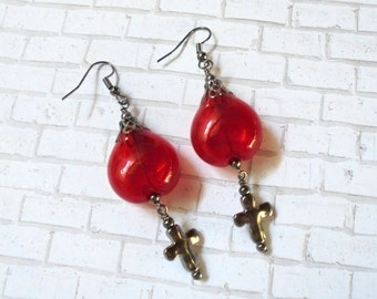 Crimson Blood Droplet and Black Cross Goth Earrings (2941)