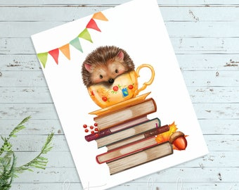 Hedgehog Teacup Printable