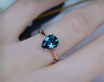 14K Rose Gold Pear London Blue Topaz Ring Natural Topaz Engagement Ring Wedding Ring Promise Ring Anniversary Ring
