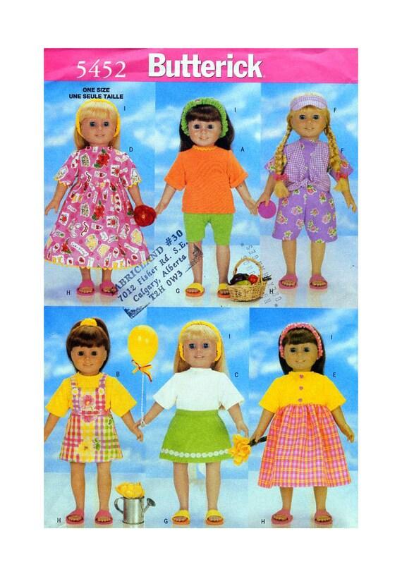 Butterick 5452 Puppe 18 Kleidung Nähen Muster