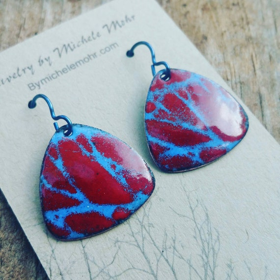 Red and Blue Enamel Copper Earrings