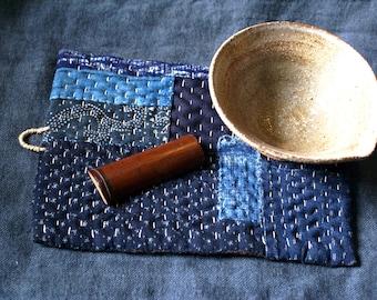 pot holder/ hot pad in Japanese kasuri boro/kantha/sashiko/hand sewn
