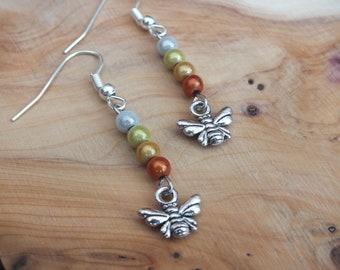 Bumblebee earrings, bee earrings, summer earrings, orange earrings, yellow earrings